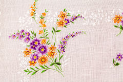 Vintage textile texture with beautiful embroidery Stock Image