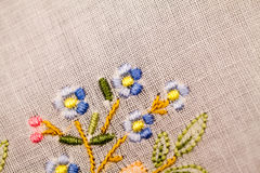 Vintage textile texture with beautiful embroidery Royalty Free Stock Photography