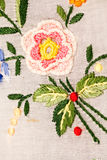 Vintage textile texture with beautiful embroidery Stock Photo