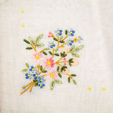 Vintage textile texture with fine embroidery Stock Photo