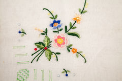 Vintage textile texture with fine embroidery Royalty Free Stock Photography