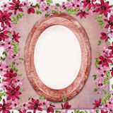 Vintage texture background with oval frame Stock Photos