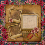 Vintage texture background with ribbon embroidery Royalty Free Stock Photos