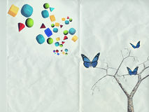 Vintage texture  texture with butterflies and geometric shapes Stock Photo