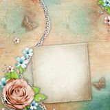 Vintage textured background with card Stock Image