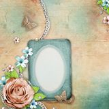 Vintage textured background with old photo frame Royalty Free Stock Image