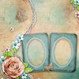 Vintage textured background with old photo frames Royalty Free Stock Photos