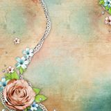 Vintage textured background with rose, lace and Royalty Free Stock Images