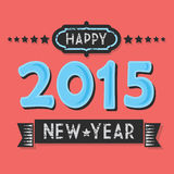 Vintage textured Happy 2015 New Year. Flat design on hot coral background Stock Photography