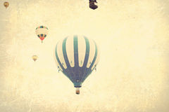 Free Vintage Textured Hot Air Balloons In Flight Royalty Free Stock Photos - 63421588
