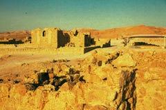 Vintage textured image of Massada fort Stock Image