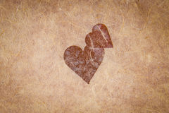 Vintage Textured Paper With Heart. And corner vignetting, blank for valentines message, copyspace Stock Image