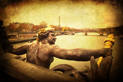 Vintage textured picture of a bridge in Paris Royalty Free Stock Photography