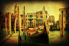 Vintage textured picture of a gondola in Venice Royalty Free Stock Photos