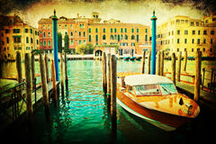 Vintage textured picture of the Grand Canal in Venice Royalty Free Stock Photography