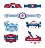 Vintage 4th of July labels Stock Images