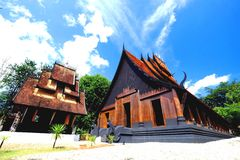 Vintage Thai buildings. This is the northern style vintage Thai buildings. Blue sky and brown wooden house is very beautiful Royalty Free Stock Images