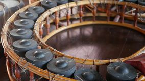 Vintage thai style khong wong lek and drums. Wooden khong wong lek with gongs and traditional drums placed on wooden. Floor. Thailand music culture objects stock video