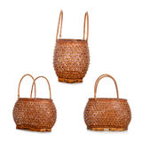 Vintage Thai style weave wicker basket Royalty Free Stock Photos