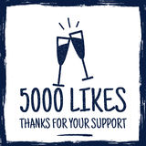 Vintage Thank you badges. Social media Followers label and likes sticker.  Stock Photography