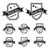 Vintage thank you black and white labels Stock Images