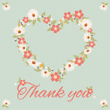 Vintage thank you card, flower Stock Images
