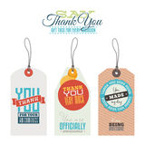 Vintage thank you labels, hang tags Royalty Free Stock Photo