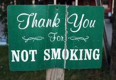 Vintage Thank you for not smoking Stock Image