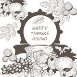 Vintage Thanksgiving Day Card. Vector Season Harvest decor. Retro Hand drawn engraved technique Royalty Free Stock Image