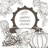 Vintage Thanksgiving Day Card. Vector Season Harvest decor. Retro Hand drawn engraved technique Royalty Free Stock Photo