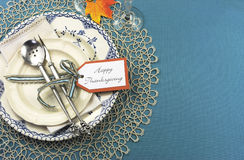 Vintage Thanksgiving dinner table place setting with copy space. stock photos
