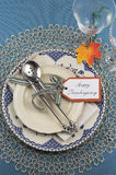 Vintage Thanksgiving dinner table place setting - vertical Stock Photography