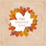 Vintage Thanksgiving Foliage Frame Royalty Free Stock Photo