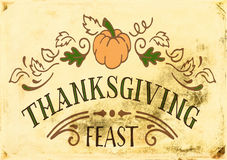 Vintage Thanksgiving. Vintage grunge background with Thanksgiving Feast text Royalty Free Stock Images