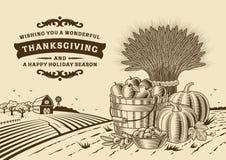 Vintage Thanksgiving Landscape Brown stock illustration