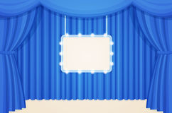 Vintage Theater or Cinema Stage with Blue Curtains and Marquee Light Bulbs Board Stock Images