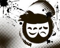 Vintage theater masks emblem. Vintage grunge theater masks emblem in black and white colors Royalty Free Stock Image