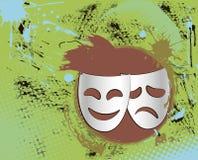 Vintage theater masks emblem in color. Grunge vintage colorful theater masks emblem with abstract background Stock Photos