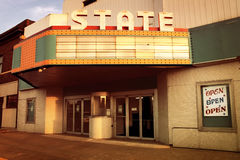 Vintage Theater in the Midwestern United States. The entry way of a classic Movie Theater. The marqee is blank so that you can add your own text stock images