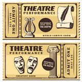 Vintage Theatre Performance Horizontal Tickets Royalty Free Stock Image