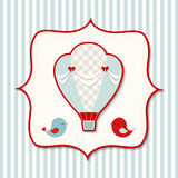 Vintage theme with retro hot air balloon, illustration. Vintage hot air balloon with two cute birds in abstract retro styled frame on striped background, vector Stock Image