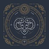 Vintage thin line Aries zodiac sign label. Retro vector astrological symbol  Royalty Free Stock Image