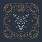Vintage thin line Capricorn zodiac sign label. Retro vector astrological symbol, mystic, sacred geometry element, emblem. Logo. Stroke outline illustration stock illustration