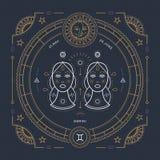 Vintage thin line Gemini zodiac sign label. Retro vector astrological symbol, mystic, sacred geometry element, emblem. Logo. Stroke outline illustration royalty free illustration
