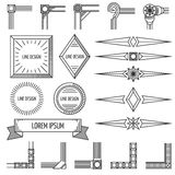Vintage thin line geometric vector shapes frames corners Royalty Free Stock Images