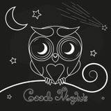 Vintage thin line owl label. vector illustration