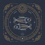 Vintage thin line Pisces zodiac sign label. Retro vector astrological symbol, mystic, sacred geometry element, emblem. Logo. Stroke outline illustration stock illustration