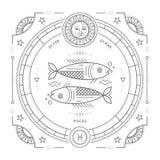 Vintage thin line Pisces zodiac sign label. Retro vector astrological symbol vector illustration