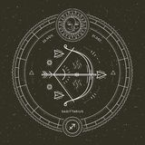 Vintage thin line Sagittarius zodiac sign label. Retro vector astrological symbol, mystic, sacred geometry element. Emblem, logo. Stroke outline illustration royalty free illustration