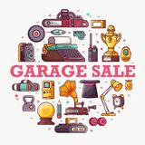 Garage Sale or Flea Market Announcement Card. Vintage things and objects. Flea market or antiques shop banner. Old rarity elements for entertainment with lens Stock Photos